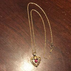 Avon Vintage Goldtone Red Gemstone Heart Necklace